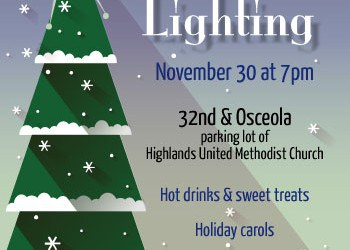 Lighting the Tree in Highlands Square